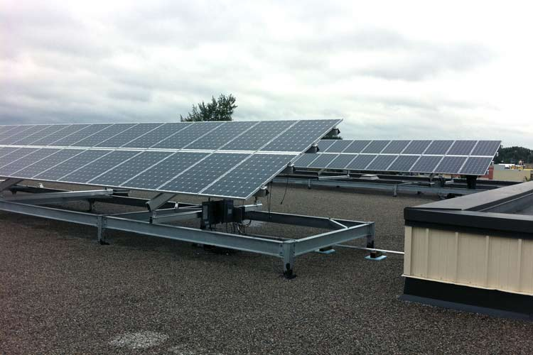 clarke secondary school raised rooftop solar panel